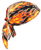 OccuNomix Tuff Nougies Deluxe Tie Hats, One Size, Large Flames, 1/EA, #TN6FLA