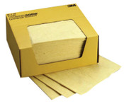 3M Chemical Sorbent Pads, Absorbs 4.25 gal, 13 7/8 in x 6 1/8 in, 200/CS, #7000001907