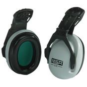 MSA EXC Cap Mounted Earmuffs, 25 dB NRR, Gray, Helmet, 1/EA, #10061230