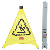 "Newell Rubbermaid™ Floor Pop-Up Safety Cones, Caution (Multi-Lingual)/Wet Floor Symbol, Yellow, 30"", 1/EA, #9S0100YEL"