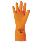 Ansell Heavyweight Latex Gloves, Diamond Grip, Size 8, Flocked Lining, Orange, 12 Pair, #102998