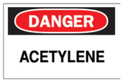 Brady Chemical & Hazardous Material Signs, Danger, Acetylene, White/Red/Black, 1/EA, #22292