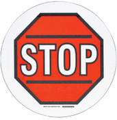Brady Floor Safety Signs, Stop, White/Red/Black, 1/EA, #104511