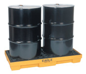 Eagle Mfg Spill Containment Pallets, Yellow, 5,000 lbs, 30 gal, 51 1/2 in x 26 1/4 in, 1/EA, #1632