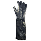 Ansell Scorpio Chemical Resistant Gloves, Rough, Size 8, Cotton Lining, Black/Gray, 12/CA, #103653