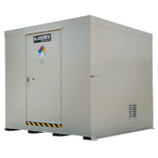 Justrite Non-Combustible Outdoor Safety Locker-Natural Draft Ventilation, (16)55gal drums, 1/EA, #911160