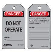 MASTER LOCK Danger Do Not Operate - Metal Detectable Safety Tags, 3 in x 5 3/4 in, Gray, 6/BG, #S4002MT