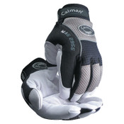 Caiman White Goat Grain Leather Palm Gloves, Medium, White/Black/Gray, 1/PR, #2955M