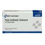 First Aid Only Triple Antibiotic Ointment, 0.5 g Individual Use Packets, 12/BOX, #12001