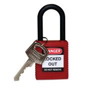 """Brady NYLON LOCK, 1.5"""" KD RED,NYLON SHACKLE, 1/EA, #123324"""
