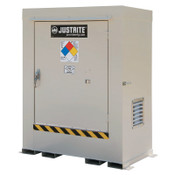 Justrite Non-Combustible Outdoor Safety Locker-Natural Draft Ventilation, (2) 55gal drums, 1/EA, #911020