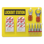BRADY 5-Lock Boards with Steel Padlocks, 1 1/2 in Dia Shackle, 15.5w x 0.1875d x 11.5h, 1/EA, #51186