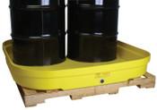 Eagle Mfg 4-Drum Budget Basins, Yellow, 8,000 lb, 66 gal, 51 1/2 in x 51 1/2 in, 1/EA, #1638