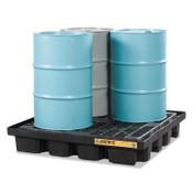 "Justrite EcoPolyBlend Spill Control Low Line Pallets, Black, 5,000 lb, 79 gal, 55"" x 55"", 1/EA, #28673"