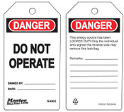 Master Lock Guardian Extreme Safety Tags, 5 3/4 x 3 in, Danger - Do Not Operate, White, 6/PK, #S4002