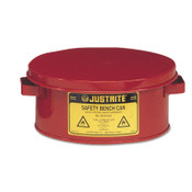Justrite Bench Cans, Hazardous Liquid Cleaning Can, 1 gal, Red, 1/CAN, #10375