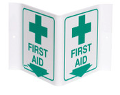 """Brady Standard """"V"""" Signs, FIRST AID (W/PICTO), Green on White, 1/EA, #V1FA03A"""