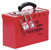 Master Lock Group Lock Box, 9-1/4 in L x 6 in H x 3-3/4 in W, Steel, Red, 1/EA, #498A