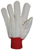 Anchor Products 1000 Series Canvas Gloves, Large, Off-White, Red Knit-Wrist Cuff, 12 Pair, #790NIR