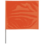 Presco Stake Flags, 4 in x 5 in, 21 in Height, PVC; Steel Wire, Orange, 100/BDL, #4521O