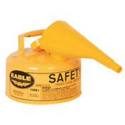 Eagle Mfg Type 1 Safety Can With Funnel, 1 gal, Steel, Yellow, 1/EA, #UI10FSY