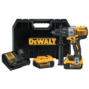 DeWalt 20V MAX XR Lithium Ion Brushless Drill/Driver Kits, 1/2 in Chuck, 5 Ah Batt Cap, 1/EA, #DCD996P2