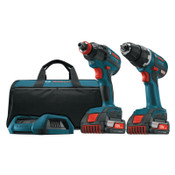 Bosch Tool Corporation 18V Cordless Drill Driver/Impact Driver Combo, 1/4 in Chuck, 1650 in lb Torque, 1/KT, #CLPK233WC02
