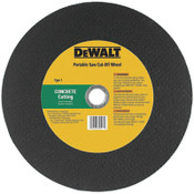 DeWalt High Speed Wheels, 14 in, 1 in Arbor, C24P, 5,500 rpm, Concrete Cutting, 10/EA, #DW8024