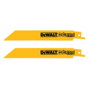 DeWalt Bi-Metal Reciprocating Saw Blades, 6 in, 10/14 TPI, Straight Back, Wood, 2/PK, 10/BOX, #DW48452