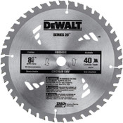 DeWalt Portable Construction Saw Blades, 8 1/4 in, 40 Teeth, 5/EA, #DW3184