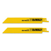 DeWalt Bi-Metal Reciprocating Saw Blades, 6 in, 10 TPI, Straight Back, Wood, 2/PK, 10/BOX, #DW48062