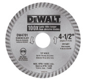 DeWalt Continuous Rim Diamond Blades, 4 1/2 in, 1/EA, #DW4701