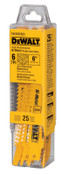 DeWalt Bi-Metal Reciprocating Saw Blades, 6 in, 6 TPI, Taper Back, Wood, 25/PK, 25/PKG, #DW4802B25