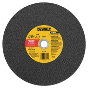 DeWalt High Speed Wheels, 12 in, 1 in Arbor, A24R, 6,400 rpm, Metal Cutting, 10/EA, #DW8022