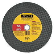 DeWalt High Speed Wheels, 14 in, 1 in Arbor, A24R, 5,500 rpm, Metal Cutting, 1/EA, #DW8020