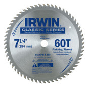 Stanley Products Classic Series Portable Corded Carbide Saw Blade, 7-1/4 in dia, 60 Tooth Ct, 5/BOX, #15530ZR