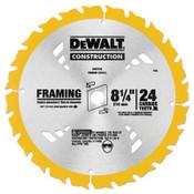 DeWalt Portable Construction Saw Blades, 8 1/4 in, 24 Teeth, 1/EA, #DW3182