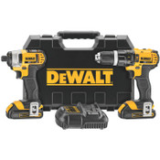 DeWalt 20V MAX Cordless Combo Kits, 1/2 in Compact Drill; 1/4 in Impact Driver, 1.5aph, 1/EA, #DCK285C2