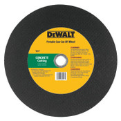 DeWalt High Speed Wheels, 12 in, 1 in Arbor, C24P, 6,400 rpm, Concrete Cutting, 10/EA, #DW8026