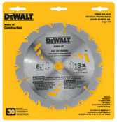 DeWalt Portable Construction Saw Blades, 6 1/2 in, 18 Teeth, 5/EA, #DW3161