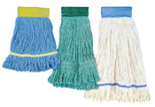 Boardwalk Super Loop Mop Heads, Large, 4-Ply Cotton/Synthetic; Vinyl Mesh Headband, Blue, 12/CA, #BWK503BLCT