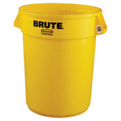 Newell Rubbermaid Brute Round Containers, 32 gal, Plastic, Yellow, 1/EA, #263200YEL