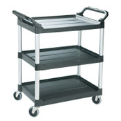 RUBBERMAID COMMERCIAL PROD. Economy Plastic Cart, Three-Shelf, 18-5/8w x 33-5/8d x 37-3/4h, Black, 1/EA, #342488BLA