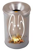 Justrite Cease-Fire Waste Receptacles, 15 gal, Head: Aluminum, Gray, 1/EA, #26615G