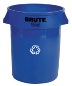 Newell Rubbermaid Brute Recycling Containers, 32 gal, Plastic, Blue, 1/EA, #263273BLUE