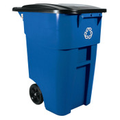 Newell Rubbermaid Brute Recycling Rollout Container, Square, 50gal, Blue, 2/EA, #9W2773BLUE