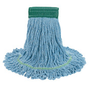 Boardwalk Super Loop Wet Mop Head, Cotton/Synthetic, Medium Size, Blue, 12/CT, #BWK502BLCT