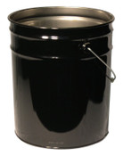Freund Unlined Open Head Steel Pail, 5 Gallon, 10.9 in Cap, Black, 1/EA, #1252