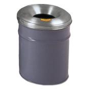 Justrite Cease-Fire Waste Receptacles, 6 gal, Head: Aluminum, Gray, 1/EA, #26606G