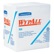 Kimberly-Clark Professional WypAll X60 Wipers, 1/4 Fold, White, 76 per pack, 12/CA, #34865